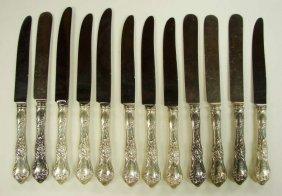 12 Reed Barton Les Cinq Fleurs Dinner Knives Sterlin
