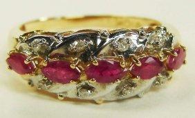 10K Gold Rubies Diamonds Ring