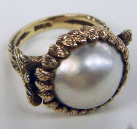 14K Gold Ring Mabe Pearl