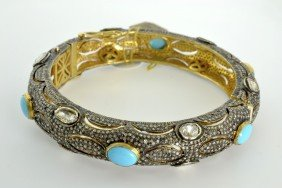 Turquoise And Diamond Bangle Appraised Value: $16,750