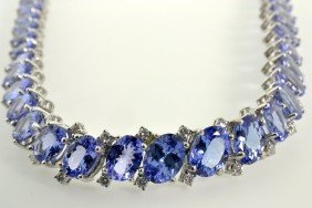 Tanzanite And Diamond Necklace Appraised Value: $50,700