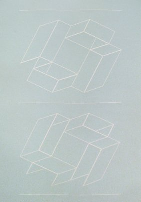 Josef Albers Lot Of 3 White Embossing On Gray