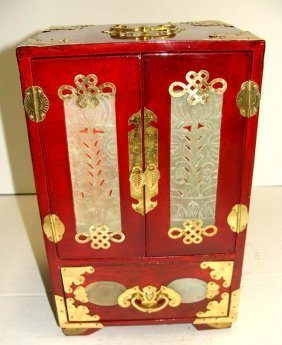 Chinese Red Wood 4 Drawer Jewelry Chest W Brass Fitting