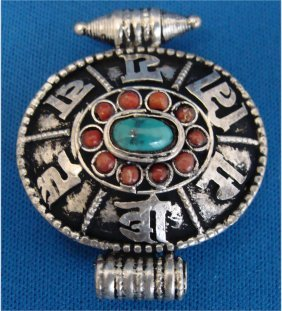Nepal Turquoise & Coral Nickel Silver Gau Pendant
