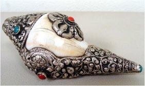 Tibetan Silver Ritual Conch Shell Sankha Coral Turquois