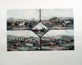 "Steeple Chase Incidents Hand Colored Engraving 25"" X 31"