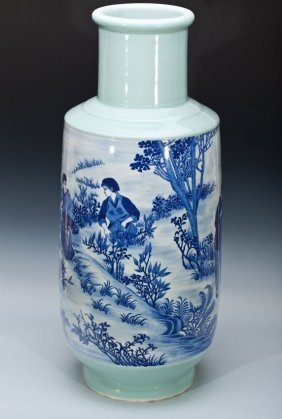 CHINESE CULTURAL REVOLUTION BLUE & WHITE PORCELAI