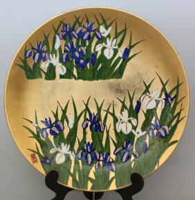 Japanese Porcelain Arita Plate Lilies