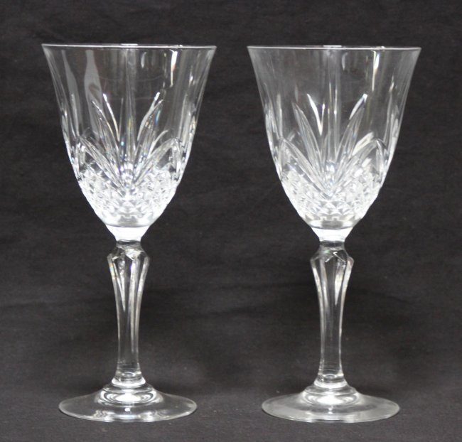 2 Antique Heavy Lead Etched Crystal Wine Glasses Lot 1164l