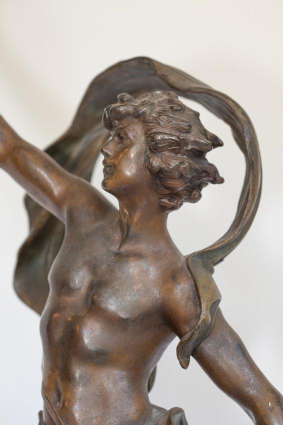 Auguste Moreau Lamp Art Nouveau Bronze Figural Lamp By