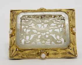Chinese White Jade Inset in Silver Brooch