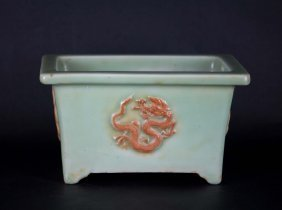 Chinese Rectangular Celadon Planter