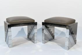 PAIR OF METAL CLAD PAUL EVANS STYLE BENCHES