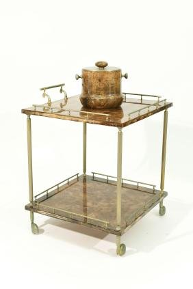 ALDO TURA LEATHER BAR CART AND ICE BUCKET