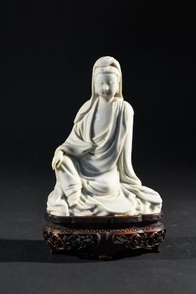 Chinese Blanc De Chine Guanyin Porcelain Figure