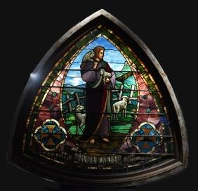 MONUMENTAL STAINED GLASS PICTORAL WINDOW C. 1880