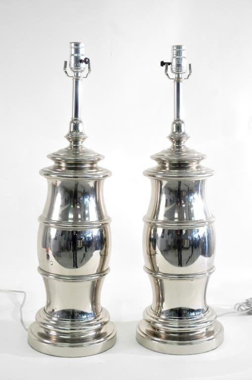 pair of nickle plated stiffel lamps lot 177. Black Bedroom Furniture Sets. Home Design Ideas