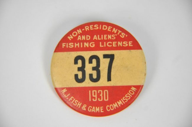 1930 nj non resident fishing license lot 296 for Non resident florida fishing license