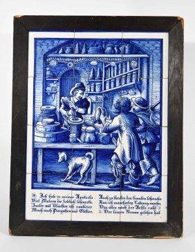 Blue And White Delft Tile Art
