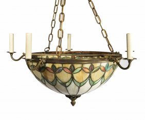 Stained Glass And Bronze Chandelier