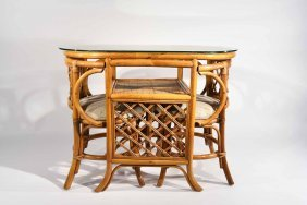 Bamboo & Glass Table & Chairs