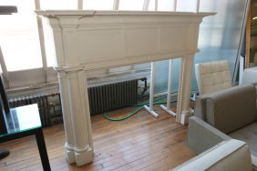Large Decorative White Painted Mantle Used By