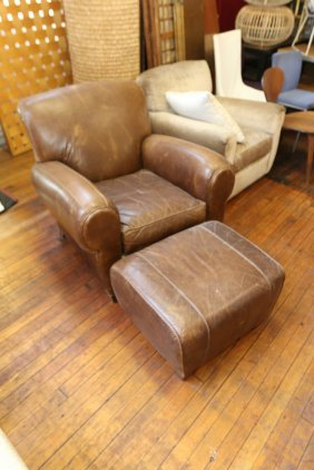 Leather Club Chair With Ottoman.