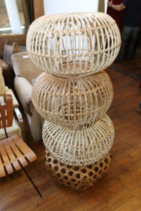 Rattan Ottomans In The Manner Of Franco Albini