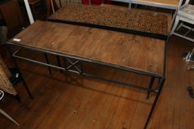 Two Iron And Wood Console Tables