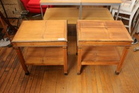 Pair Of Bamboo End Tables Originally Purchased