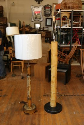 Two Hollywood Regency Style Floor Lamps