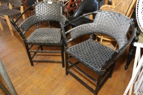 Bamboo Chairs With Woven Rubber Seats