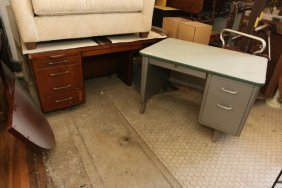 (2) Metal And Wood Desks