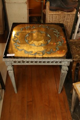 Gold Leaf Reverse Mirrored End Table