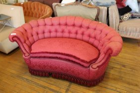Half Round Tufted French Love Seat
