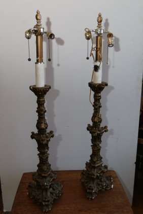 Pair Of Gilt Gesso Ornate Lamps