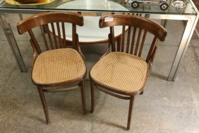 Pair Of Caned Seat Side Chairs.