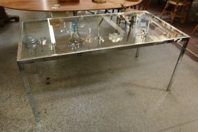 Chrome And Glass Top Dining Table