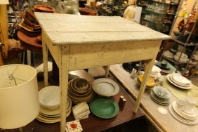Small Gray Painted Work Table.