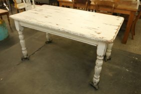 White Painted Pine Dining Table.