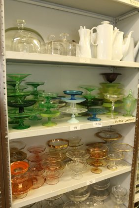 Grouping Of Depression Glass Compotes, Cake Plates