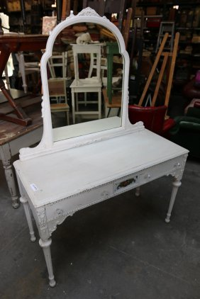 White Painted Vanity With Mirror.