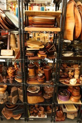 Five Shelves Of Vintage Wood Trays, Cups, And