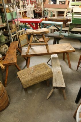 Lot Of Five Rustic Assorted Wooden Benches.