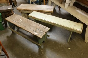 Lot Of Three Rustic Pine Benches, Two Green One