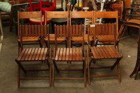 Seven Vintage Wooden Folding Chairs Set Of Three,