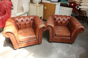 Pair Chesterfield Style Leather Tufted Club Chairs