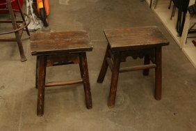Pair Of Dark Wooden Stools