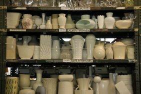 Shelf Of White And Cream Pottery And Glass