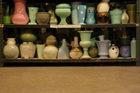 Collection Of Green, Blue, Cream, Ceramic Pottery